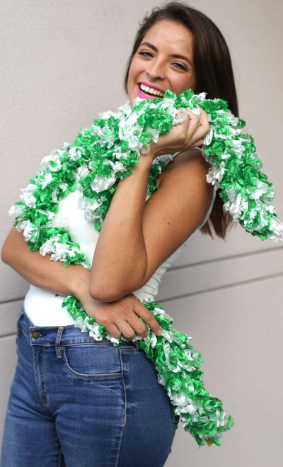 Original Featherless Boa - Green and White | PB Backdrops