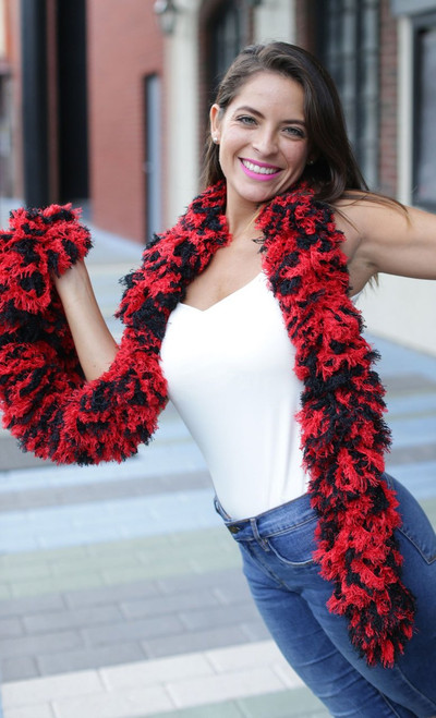 SUPER Sized Featherless Boa - - Red and Black | PB Backdrops