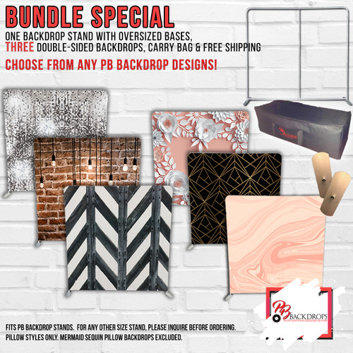 Pillow Cover Stand and 3 Double Sided Backdrop Bundle Any colors any designs