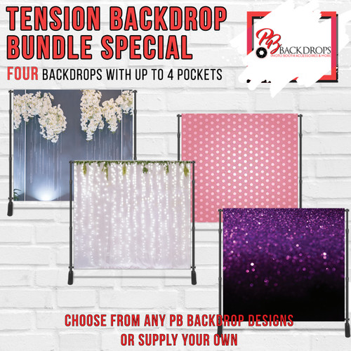 8x8 Printed Tension fabric backdrop Bundle #3 (4 Backdrops with up to 4 pole pockets)