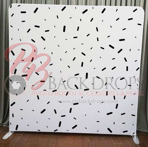 Single-sided Pillow Cover Backdrop  - Black and White Confetti | PB Backdrops