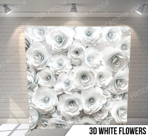 Single-sided Pillow Cover Backdrop  (3D White Flowers)