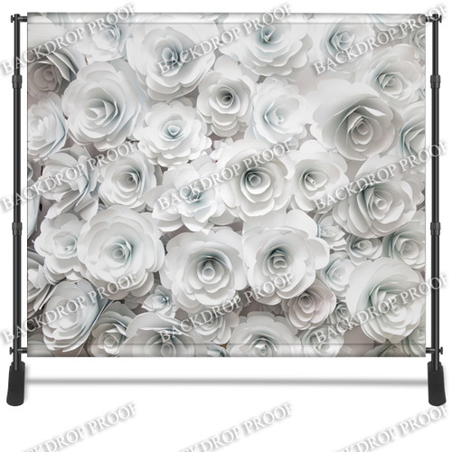 8x8 Printed Tension fabric backdrop - 3D White Flowers | PB Backdrops