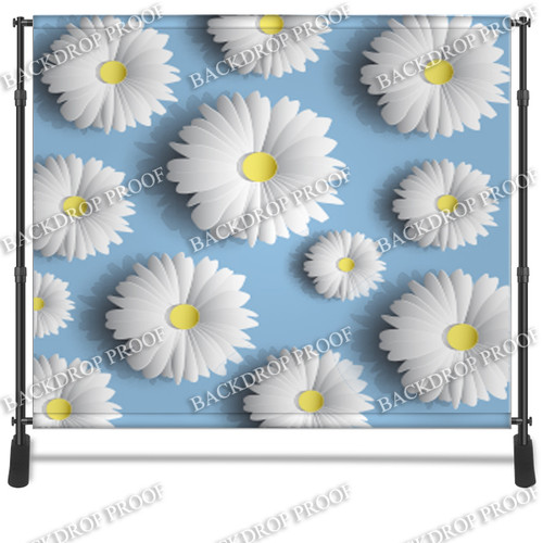 8x8 Printed Tension fabric backdrop - 3D Daisies | PB Backdrops