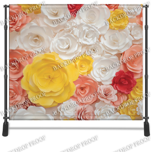 8x8 Printed Tension fabric backdrop - 3D Color Flowers | PB Backdrops