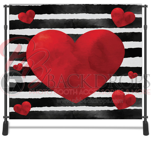 8x8 Printed Tension fabric backdrop - Black White Stripe Hearts | PB Backdrops