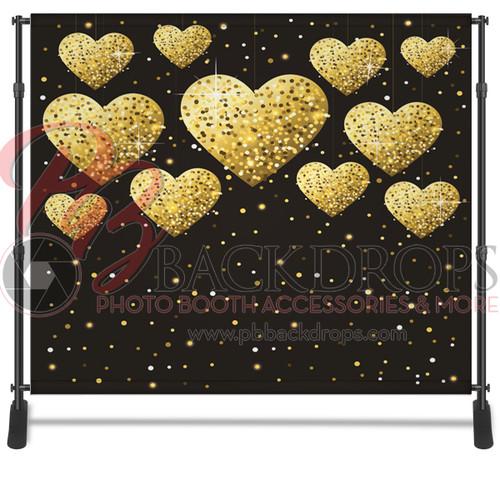 8x8 Printed Tension fabric backdrop - Gold Hearts | PB Backdrops