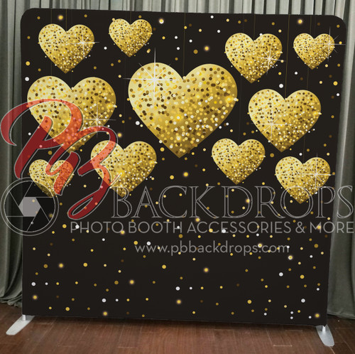 Single-sided Pillow Cover Backdrop  - Gold Hearts | PB Backdrops