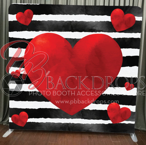 Single-sided Pillow Cover Backdrop  - Black White Stripe Hearts | PB Backdrops