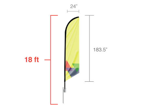 Feather Angled Flag - X-Large | PB Backdrops
