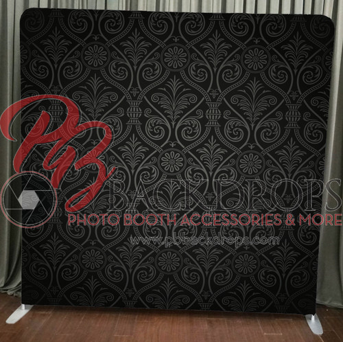 Single-sided Pillow Cover Backdrop  - Black and Grey Damask | PB Backdrops
