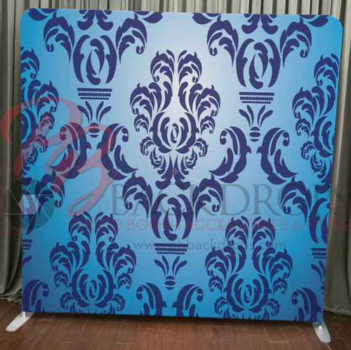 Single-sided Pillow Cover Backdrop  - Blue Damask | PB Backdrops