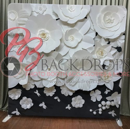 Single-sided Pillow Cover Backdrop  - large paper flowers | PB Backdrops