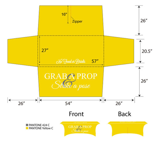 6ft Spandex Fabric Table Cover with Zipper in back - Yellow with white lettering | PB Backdrops