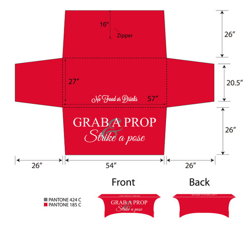 6ft Spandex Fabric Table Cover with Zipper in back - Red with white lettering | PB Backdrops