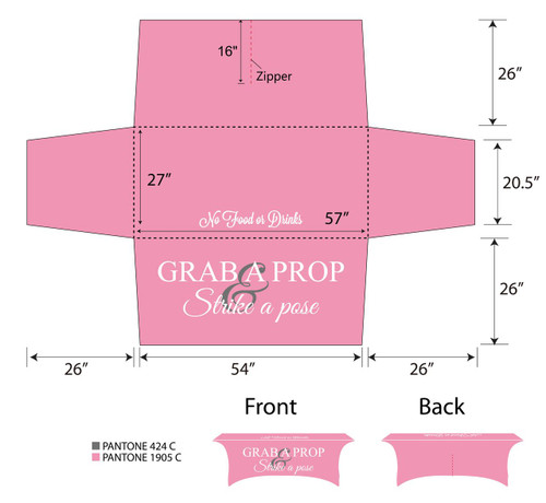 6ft Spandex Fabric Table Cover with Zipper in back - Pink with white lettering | PB Backdrops