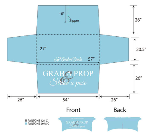 6ft Spandex Fabric Table Cover with Zipper in back - Light Blue with white lettering | PB Backdrops
