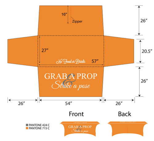 6ft Spandex Fabric Table Cover with Zipper in back - Orange with white lettering | PB Backdrops
