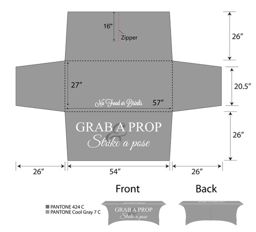 6ft Spandex Fabric Table Cover with Zipper in back - Grey with white lettering | PB Backdrops