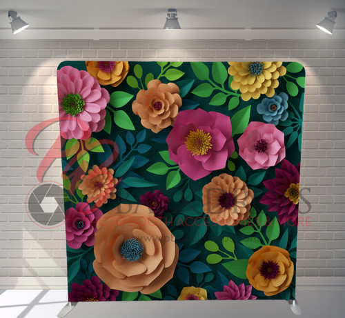 Single-sided Pillow Cover Backdrop  - 3d Paper Flowers | PB Backdrops