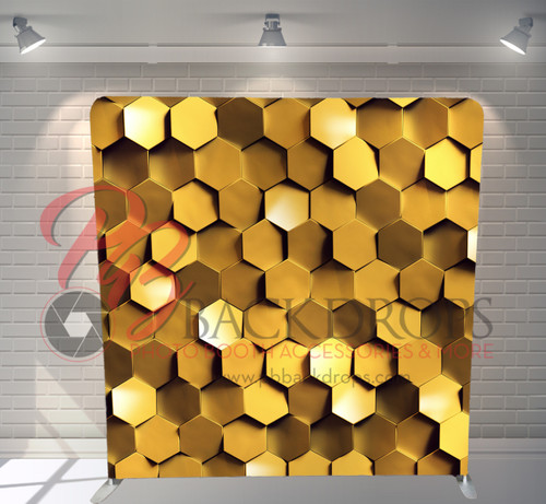 Single-sided Pillow Cover Backdrop  - Gold Honeycomb | PB Backdrops