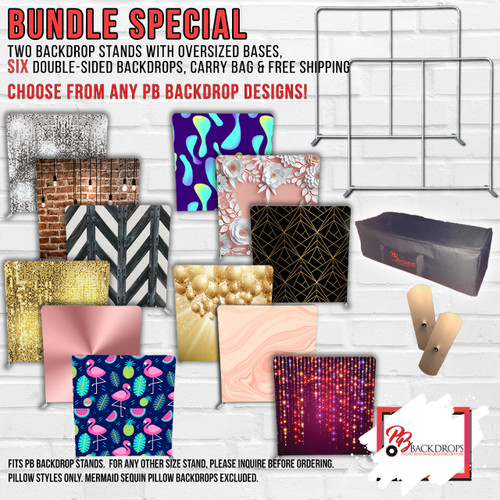 SUPER DUPER AMAZING GIANT BUNDLE -  2 Pillow Cover Stands and 6 Double Sided Backdrop Bundle w/Free Shipping and Oversized Bases