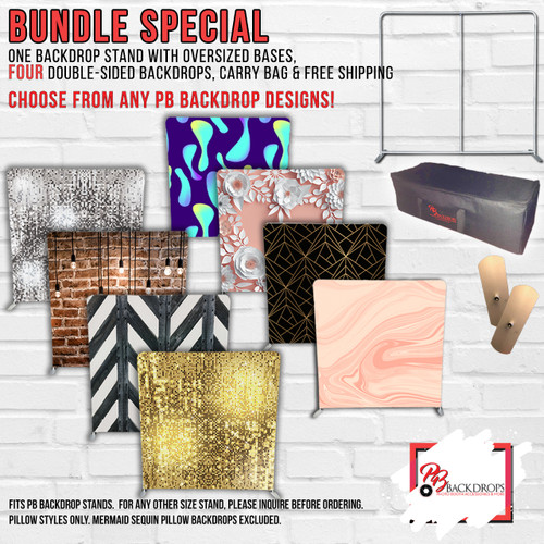 PB Appreciation Sale - 1 Pillow Cover Stand with Oversized bases and 4 double sided backdrops with Free Shipping Worldwide