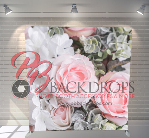 Single-sided Pillow Cover Backdrop  - Roses Succulents | PB Backdrops