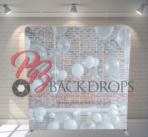 Single-sided Pillow Cover Backdrop  - Rustic White Balloons | PB Backdrops