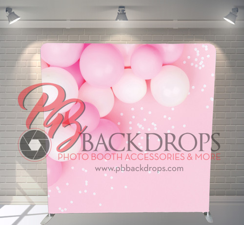 Single-sided Pillow Cover Backdrop  - Pink Balloons & Confetti | PB Backdrops