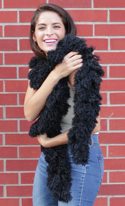 XL SUPER Sized Featherless Boa - (Black)