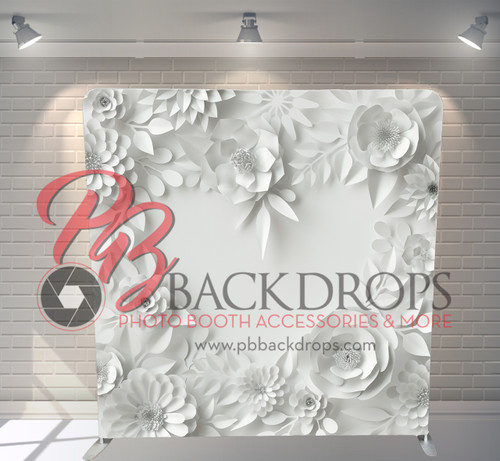 Single-sided Pillow Cover Backdrop  - 3D White Floral Heart | PB Backdrops