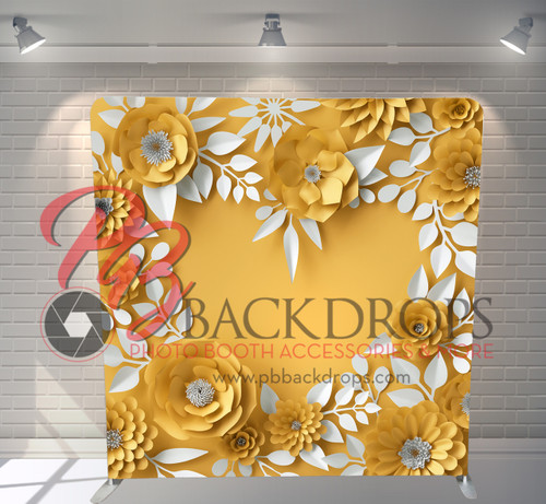 Single-sided Pillow Cover Backdrop  - 3D Yellow Floral Heart | PB Backdrops
