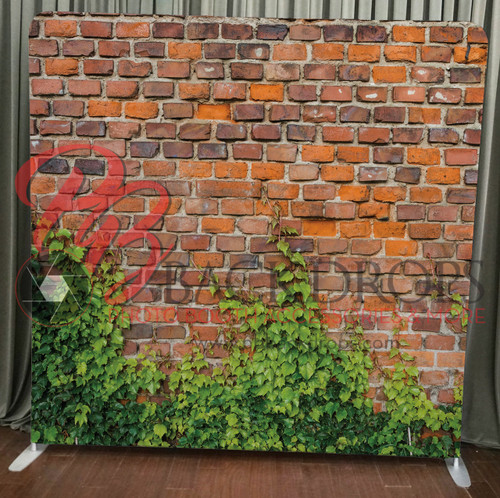 Single-sided Pillow Cover Backdrop  - Brick with Greenery | PB Backdrops