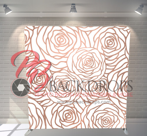 Single-sided Pillow Cover Backdrop  - Rose Gold Roses | PB Backdrops