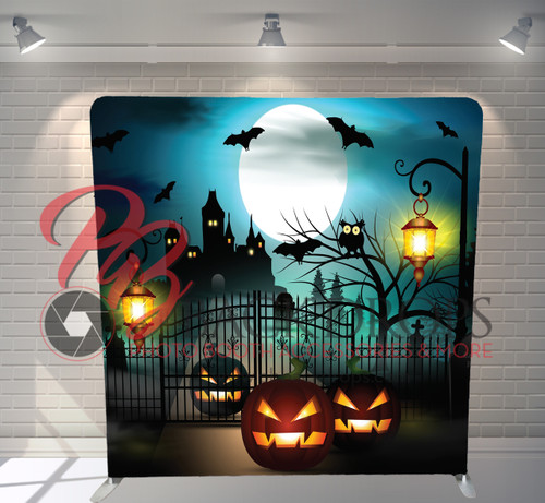 Single-sided Pillow Cover Backdrop  - Haunting Pumpkins | PB Backdrops