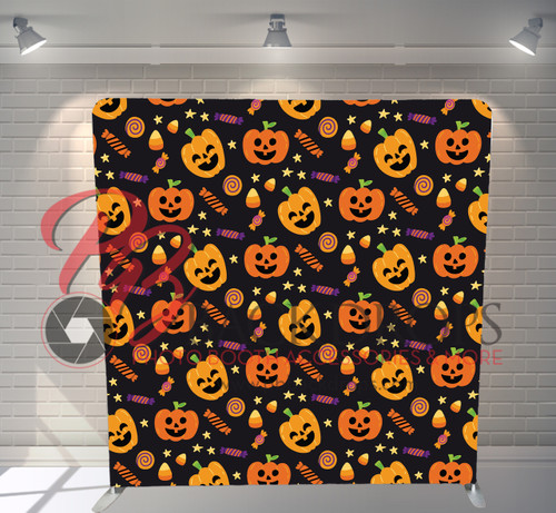 Single-sided Pillow Cover Backdrop  - Pumpkins and Candy | PB Backdrops