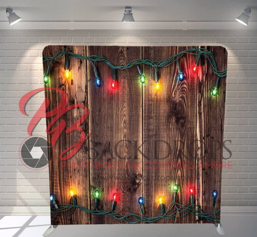Single-sided Pillow Cover Backdrop  - Holiday Lights on Wood | PB Backdrops