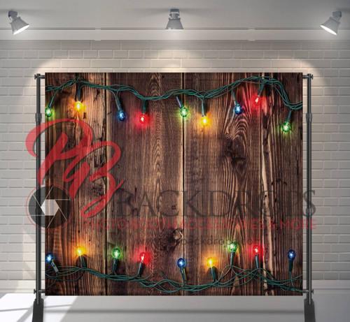 8x8 Printed Tension fabric backdrop - Holiday Lights on Wood | PB Backdrops