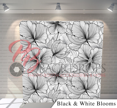 Single-sided Pillow Cover Backdrop  - Black and White Blooms | PB Backdrops