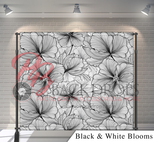 8x8 Printed Tension fabric backdrop - Black and White Blooms | PB Backdrops