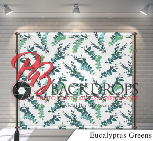 8x8 Printed Tension fabric backdrop - Eucalyptus Greens   PB Backdrops