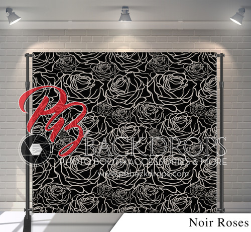 8x8 Printed Tension fabric backdrop - Noir Roses | PB Backdrops