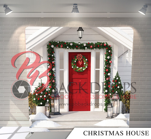 Single-sided Pillow Cover Backdrop  - Christmas House | PB Backdrops