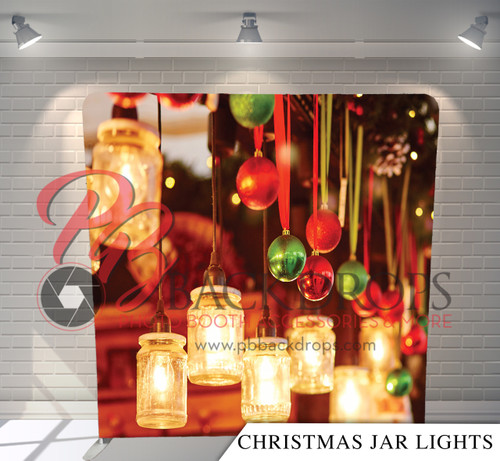 Single-sided Pillow Cover Backdrop  - Christmas Jar Lights | PB Backdrops
