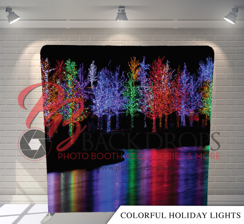 Single-sided Pillow Cover Backdrop  - Colorful Holiday Lights | PB Backdrops