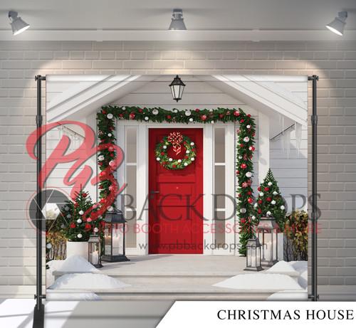 8x8 Printed Tension fabric backdrop - Christmas House   PB Backdrops