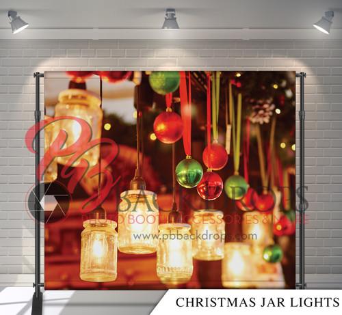 8x8 Printed Tension fabric backdrop - Christmas Jar Lights | PB Backdrops