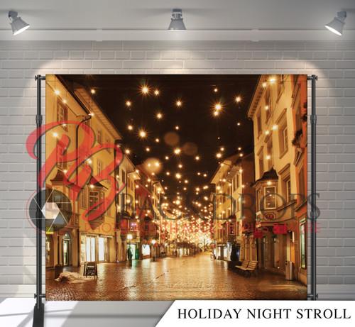 8x8 Printed Tension fabric backdrop - Holiday Night Stroll | PB Backdrops