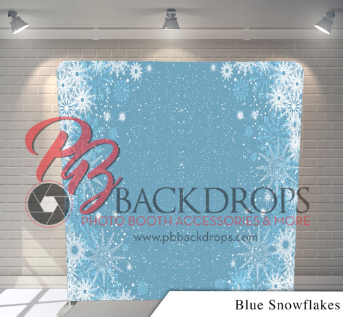 Single-sided Pillow Cover Backdrop  (Blue Snow Flakes)